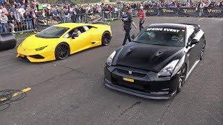 Download Nissan GT-R R35 vs Lamborghini Huracan Novitec N-Largo S Video