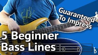 Download 5 Beginner Bass Lines - Guaranteed To Impress [With Tabs On Screen] Video
