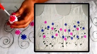 Download DIY : Designer Kurti using Home made Stamps | Easy Free Hand Painted Techniques Video