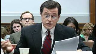 Download Colbert stays in character at congressional hearing Video