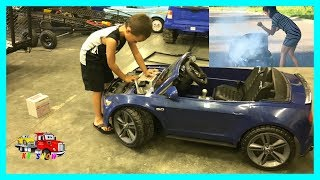 Download Powered Ride On Mustang On Fire Kruz To The Rescue Towing/Replacing The Battery on KV Show Video