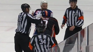 Download Oilers and Ducks get a little chippy in the dying seconds Video