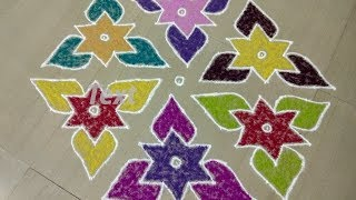 Download Margazhi kolam/star kolam with colours/easy rangoli design with dots 15 to1/new rangoli 2017 Video