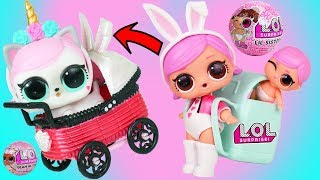 Download LOL Surprise Doll Hops and Lil Sister get New Custom Baby Stroller Series 4 with magical Unicorn Video