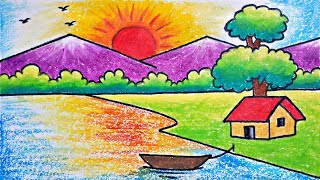 Download Very Easy Scenary Drawing | How to Draw Simple Scenery for Kids Video