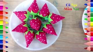 Download Đồ chơi Mầm non- Hướng dẫn làm quả dâu tây trang trí mầm non - how to make strawberries . Video