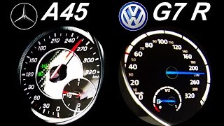 Download VW GOLF 7 R vs MERCEDES A45 AMG Acceleration 0-250 Onboard Sound Autobahn Test Video