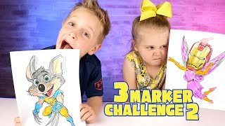 Download 3 Marker Challenge! Chuck E Cheese with Wolverine Claws + Avengers Infinity War! Video