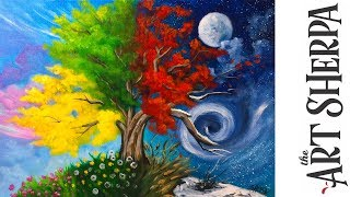 Download How to paint with Acrylic on Canvas 4 season Tree step by step tutorial Video