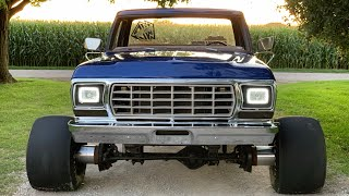 "Download 1979 F250 on 12"" spacers and 24"" wide slicks rips up pavement Video"