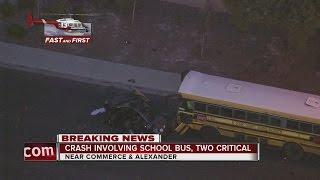 Download 2 critical after crash involving school bus in North Las Vegas Video