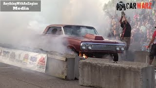 Download Old Car Burnout Ends In FIRE At Rod Benders Burnout Competition Video