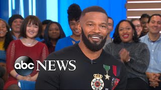 Download Jamie Foxx gets surprised by Michael B. Jordan at 'GMA' Video