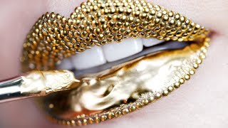 Download Makeup Tutorial Step by Step Using Gold Pigment & Studs | Lip Art Video
