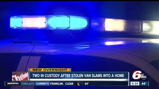 Download 2 detained after stolen van crashes into Indianapolis house Video