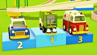 Download Helper cars. Car cartoon and animation for kids. Police car, fire truck, ambulance and sweeper. Video