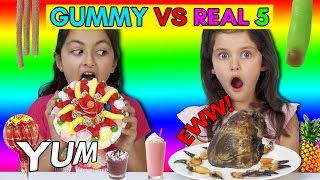 Download Real vs Gummy Food Challenge Part 5! Kids React to GROSS REAL FOOD -Cows Heart, Crab Claws! Video