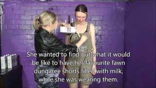 Download Messy Women - Chastity in Dunagrees drenched in milk! Video