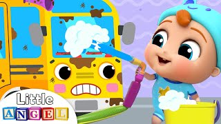 Download School Bus at the Car Wash | Wheels of the Bus Song | Little Angel Kids Songs Video