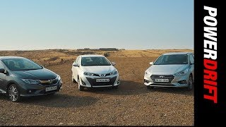 Download Toyota Yaris vs Honda City vs Hyundai Verna : Which ones the smarter choice? - PowerDrift Video
