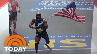 Download Marine Who Lost Leg Runs Entire Boston Marathon Carrying American Flag | TODAY Video