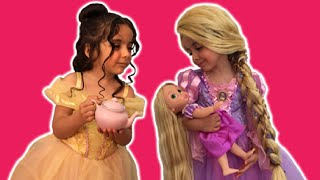 Download Disney Movie In Real Life PRINCESS TEA PARTY Cake + Frozen Elsa Dolls Toys Dress Up Costume PART 1 Video