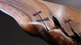 Download Making a Live Edge Floating Shelf with Hand Cut Bow Tie Inlays Video