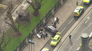 Download Westminster shooting: Aerials of car veered off road near Parliament Video