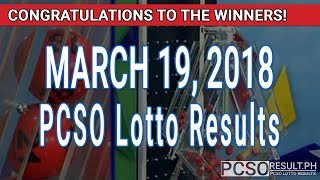 Download PCSO Lotto Results Today March 19, 2018 (6/55, 6/45, 4D, Swertres, STL & EZ2) Video