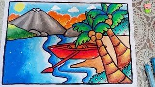 Cara Menggambar Pemandangan Dengan Pensil Warna Untuk Anak Sd Free