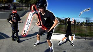 Download DESTROYING A KID'S SCOOTER & GIVING HIM A BRAND NEW ONE! Video