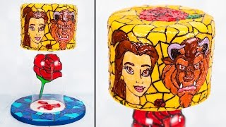 Download Beauty and the Beast Cake / Stained Glass Cake with floating isomalt rose Video
