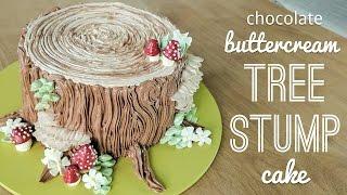 Download Relaxing cake decorating: all buttercream tree stump cake - piping bark, mushrooms, flowers Video