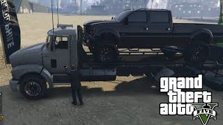 Download GTA 5 - Mudding & Hauling Mud Truck on Flatbed Truck Video