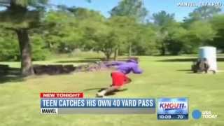 Download Watch this teen throw a Hail Mary pass and catch it himself Video