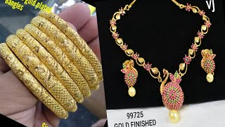Download One gram gold platted bangles, Ad stone Necklaces with Prices Part 53 Video