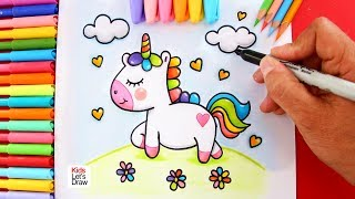 Download Aprende a dibujar un UNICORNIO Kawaii paseando sobre una PRADERA Video
