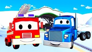 Download Playing in the snow with Carl the Super Truck, Franck the Fire Truck & his friends in Car City Video