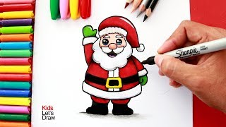 Download Aprende a dibujar y pintar a PAPÁ NOEL fácil   How to Draw a Cute Santa Claus Video