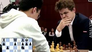 Download Magnus Carlsen Crushes GM Yu Yangyi (2736) In 16 Moves | Blitz Chess Playoff Qatar Chess Master 2015 Video
