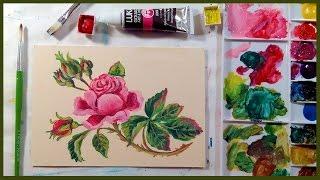 Download Vintage Rose in Gouache Beginner Tutorial Video