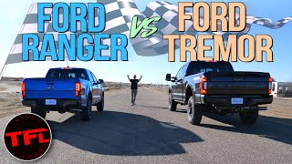 Download Gas vs Diesel: What's Quicker, Ford's Smallest Or Biggest Pickup Truck? Let's Drag Race To Find Out! Video