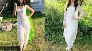 Download New white colour suit with contrasting dupatta and salwar design ideas/stylish white colour suit Video