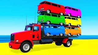 Download COLOR BUS on TRUCK and Cars Cartoon for Kids & Fun Colors for Children Nursery Rhymes Video