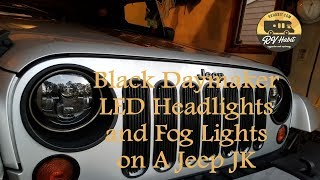 Download Jeep Wrangler JK Black Daymaker 7″ LED Headlights / Cree Fog Lights - How to Install and Review Video