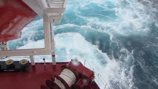 Download cargo ship in storm at kuril islands Video