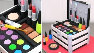 Download MAKE UP Cosmetics Box Cake *Pastel Caja De Maquillaje by Cakes StepbyStep Video