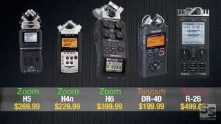 Download Handheld Recorder Review (Full): Zoom H6, H5, H4n, Tascam DR-40, Roland R-26 Video
