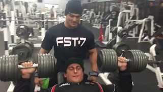 Download Sadik Hadzovic Tonnell Rodrigue Go Heavy Dumbbell Chest Cress WIth Jeremy Buendia Spotting Video