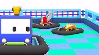 Download The Bumper Cars - Learn with Tiny Trucks, Dino the Dinosaur and trucks : bulldozer, crane, excavator Video